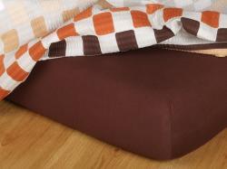 Jersey prostěradlo tmavě hnědá 190x210x18 cm