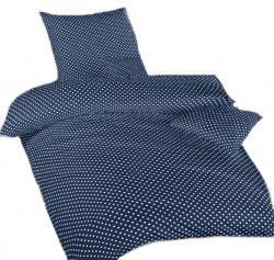 Ložní modré povlečení bavlna DADKA Puntík bílý