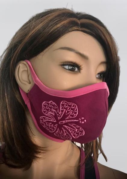 Obličejová ochranná rouška s výšivkou a kapsou fialová