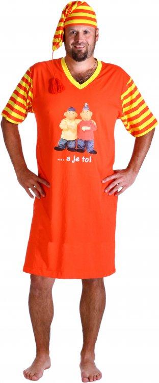 Pánská noční košile Pat a Mat s čepičkou A je to