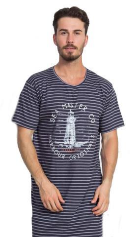 Pánská noční košile s krátkým rukávem Vienetta Secret Maják barvy