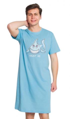 Pánská noční košile s krátkým rukávem Vienetta Secret Žralok