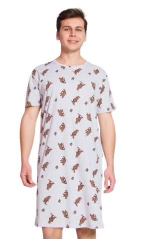 Pánská noční košile šedá Vienetta Secret Medvědi