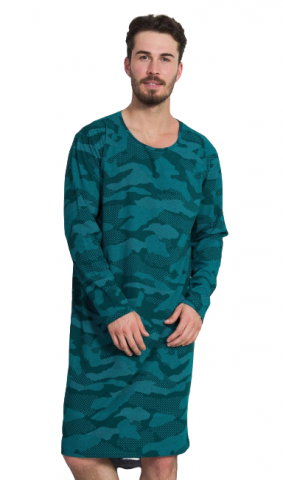 Pánská noční košile Vienetta Secret Military - dlouhý rukáv