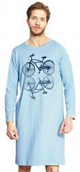 Pánská noční košile Vienetta Secret Velociped modrá
