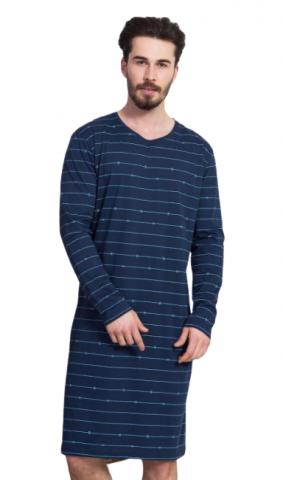 Pánská noční košile Vienetta Secret Vilém dlouhý rukáv