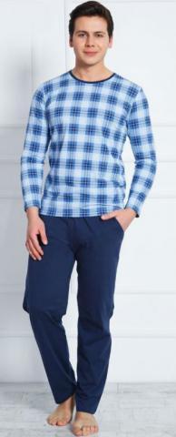 Pánské modré pyžamo dlouhé Vienetta Secret Honza