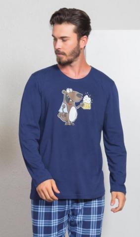 Pánské pyžamo dlouhé Vienetta Secret Méďa s pivem