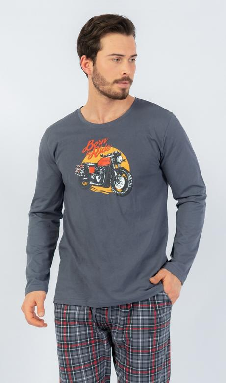Pánské pyžamo dlouhé Vienetta Secret Motorka