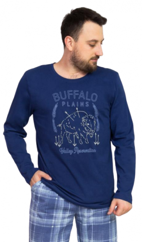 Pánské pyžamo dlouhé Vienetta Secret Buffalo