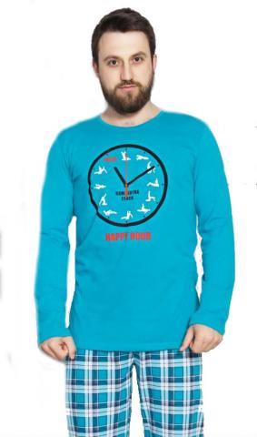 Pánské pyžamo dlouhé Vienetta Secret Kamasutra clock
