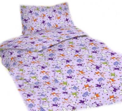 Povlečení bavlna do postýlky Kočky fialové