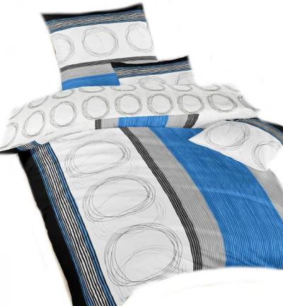 Povlečení bavlna Kružnice modré a kroužky