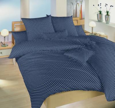 Povlečení bavlna Puntík bílý na tmavě modrém - 2 postele