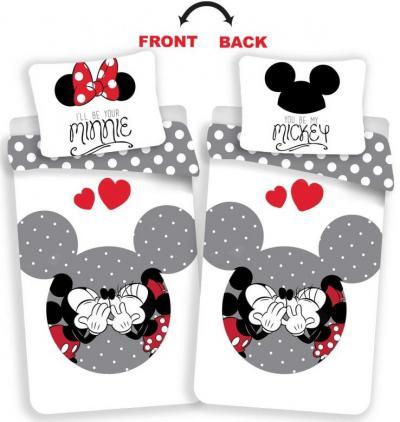 Povlečení Mickey and Minnie love grey