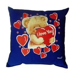 Svítící polštářek Medvídek I love you modrý 28x28 cm