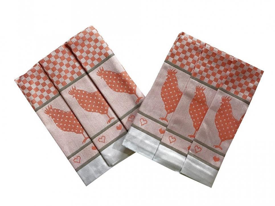 Utěrka Extra savá 50x70 Slepičky oranžové - 3 ks