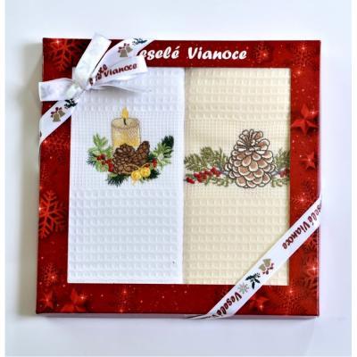 Vánoční dárková sada utěrek šiška 2 ks